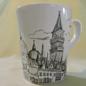 Old City Drawing in Black and White Mug